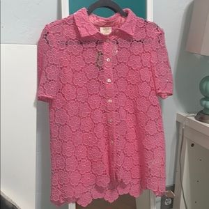 NEW kate spade pink bloom flower lace top